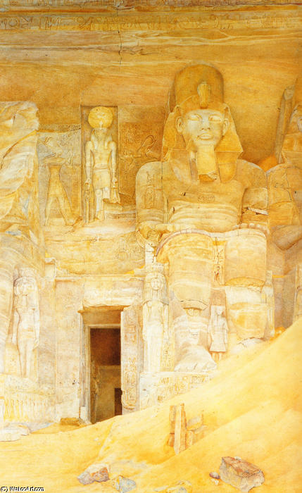 The Temple Door at Abu Simbel, Watercolour by Henry Roderick Newman (1833-1918, United States)