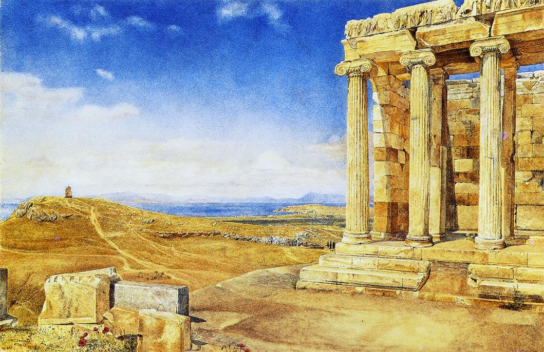 The Temple of Athena Nike on nthe Acropolis, Watercolour by Henry Roderick Newman (1833-1918, United States)