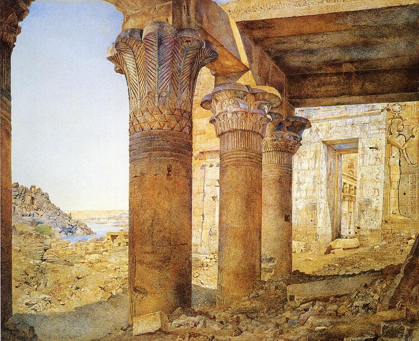 Temple of Philae from the Outer Court, Watercolour by Henry Roderick Newman (1833-1918, United States)