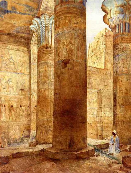 Temple of Philae, Nubia, Watercolour by Henry Roderick Newman (1833-1918, United States)