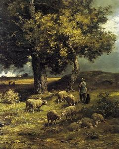 Charles Émile Jacque - Tending the Flock