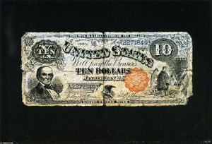 Order Art Reproduction : Ten Dollar Bill by Nicholas Alden Brooks (1840-1904, United States) | WahooArt.com