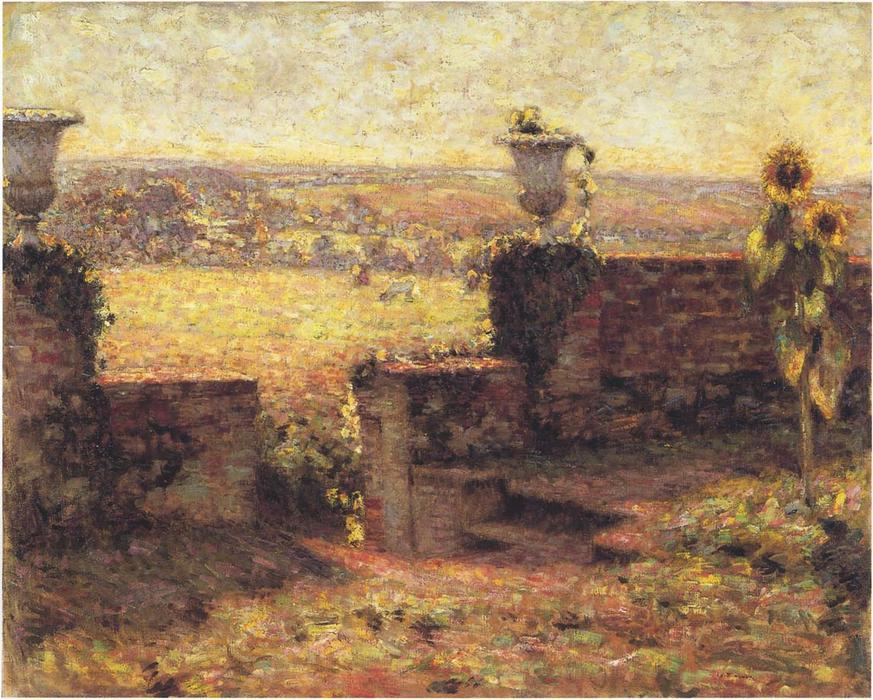 Terrace in Gerberoy, Oil On Canvas by Henri Eugène Augustin Le Sidaner (1862-1939, Mauritius)