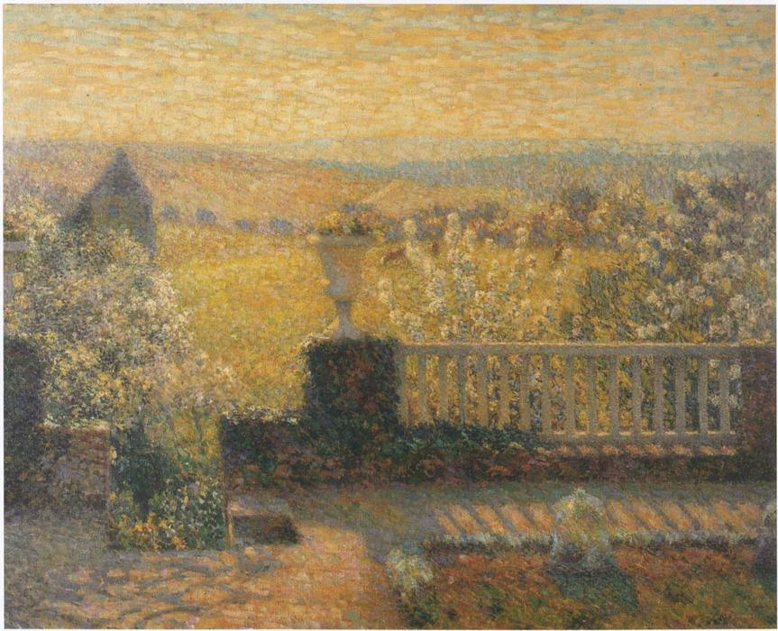Terrace in Springtime, Oil On Canvas by Henri Eugène Augustin Le Sidaner (1862-1939, Mauritius)