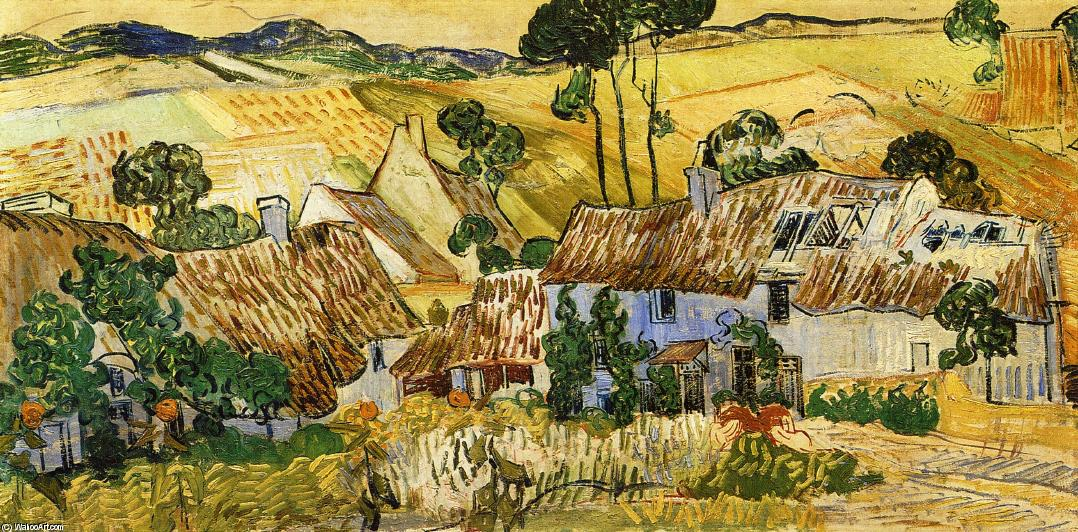 Order Paintings Reproductions | Thatched Houses against a Hill, 1890 by Vincent Van Gogh (1853-1890, Netherlands) | WahooArt.com