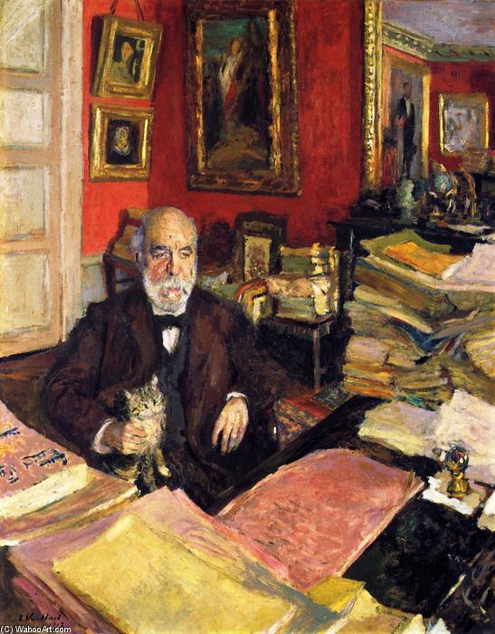 Théodore Duret in His Study, Oil On Panel by Jean Edouard Vuillard (1868-1940, France)