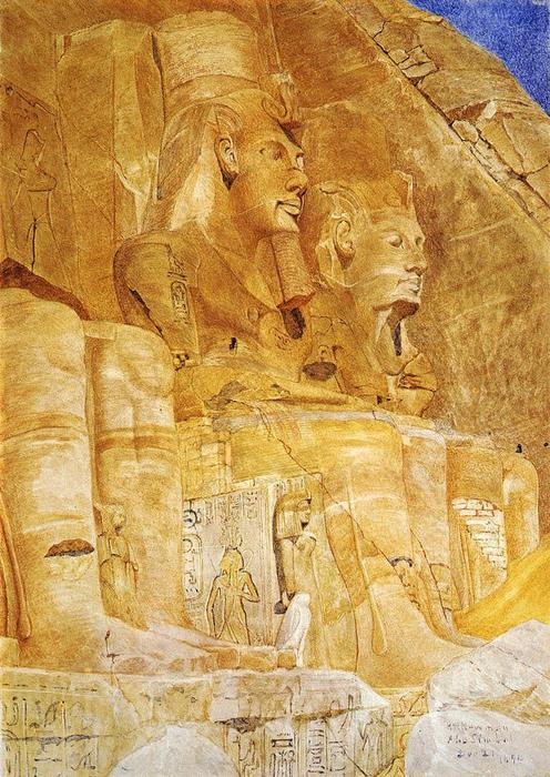 The Third and Fourth Figures at Abu Simbel, Watercolour by Henry Roderick Newman (1833-1918, United States)