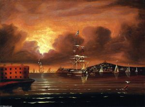 Thomas Chambers - Threatening Sky, Bay of New York