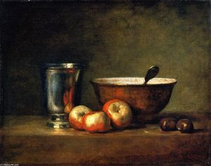 Jean-Baptiste Simeon Chardin - Three Apples, Two Chestnuts, Bowl and Silver Goblet (also known as The Silver Goblet)