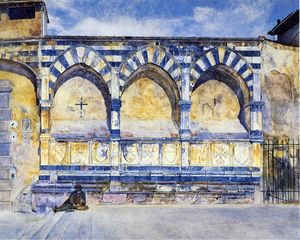 Order Reproductions | The Three Arches of Santa Maria Novella, 1877 by Henry Roderick Newman (1833-1918, United States) | WahooArt.com
