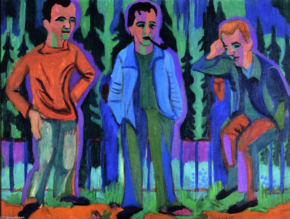 Three Artists: Hermnn Scherer, Kirchner, Paul Camenisch, 1926 by Ernst Ludwig Kirchner (1880-1938, Germany) | Famous Paintings Reproductions | WahooArt.com