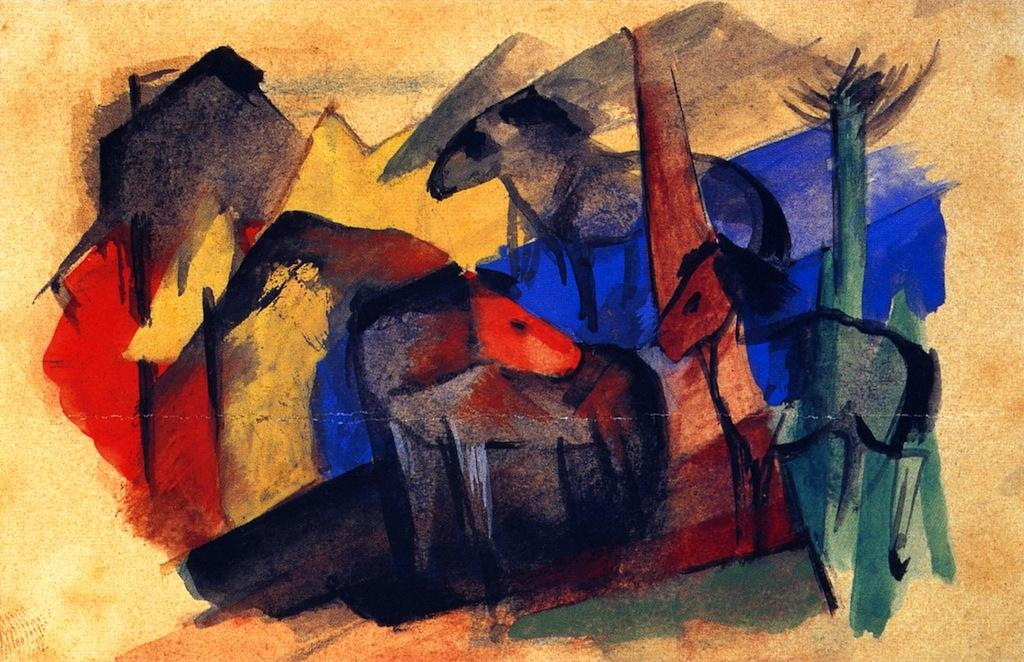 Three Horses in Landscape with Houses, 1913 by Franz Marc (1880-1916, Germany) | Art Reproductions Franz Marc | WahooArt.com