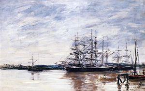 Eugène Louis Boudin - Three Masted Ship in Port, Bordeaux