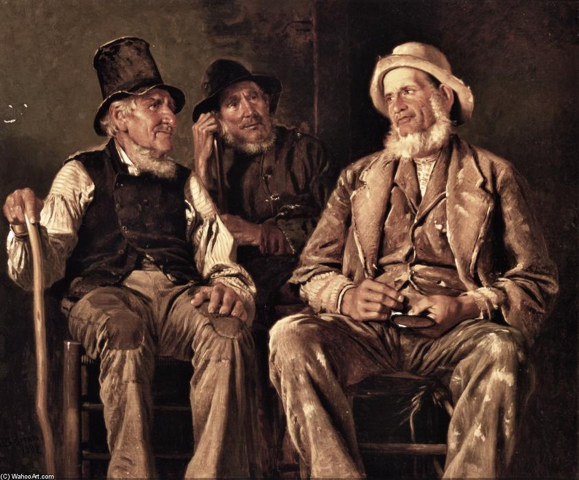 Three Old Codgers, Oil On Canvas by John George Brown (1831-1913, United Kingdom)