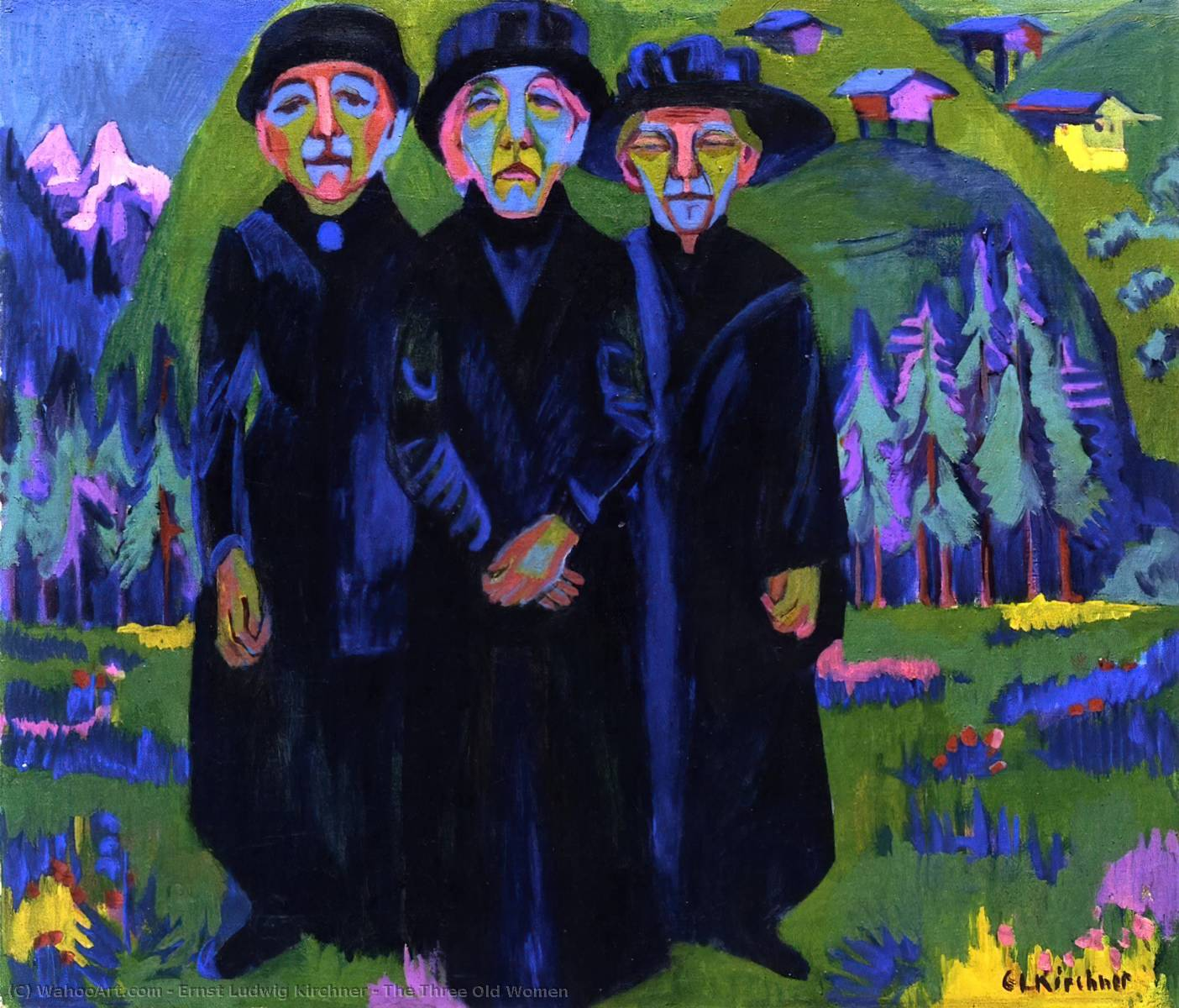 The Three Old Women, 1925 by Ernst Ludwig Kirchner (1880-1938, Germany) | WahooArt.com
