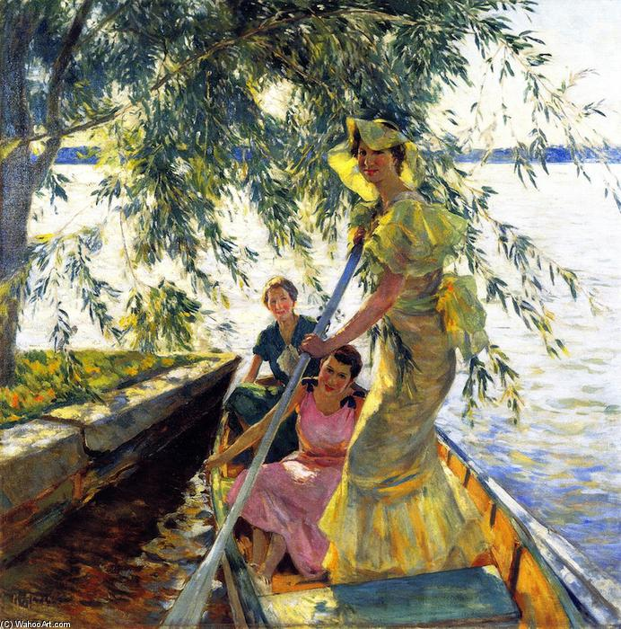 Three Women in a Rowboat, 1934 by Mathias Joseph Alten (1871-1938) | Paintings Reproductions Mathias Joseph Alten | WahooArt.com