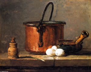 Jean-Baptiste Simeon Chardin - Tinned Copper Pot, Pepper Box, Leek, Three Eggs and a Casserole