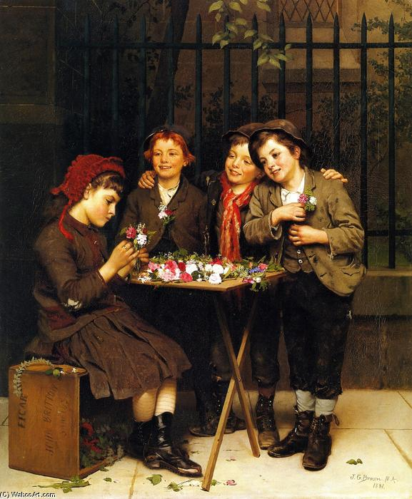 Tough Customers, Oil On Canvas by John George Brown (1831-1913, United Kingdom)