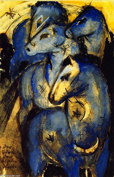 Order Art Reproductions | The Tower of Blue Horses, 1912 by Franz Marc (1880-1916, Germany) | WahooArt.com