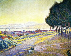 Paul Signac - The Town at Sunset, Saint-Tropez, Opus 233