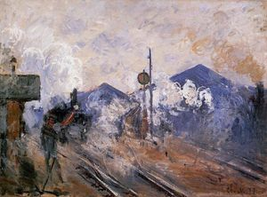 Claude Monet - Track Coming out of Saint-Lazare Station - (Famous paintings reproduction)