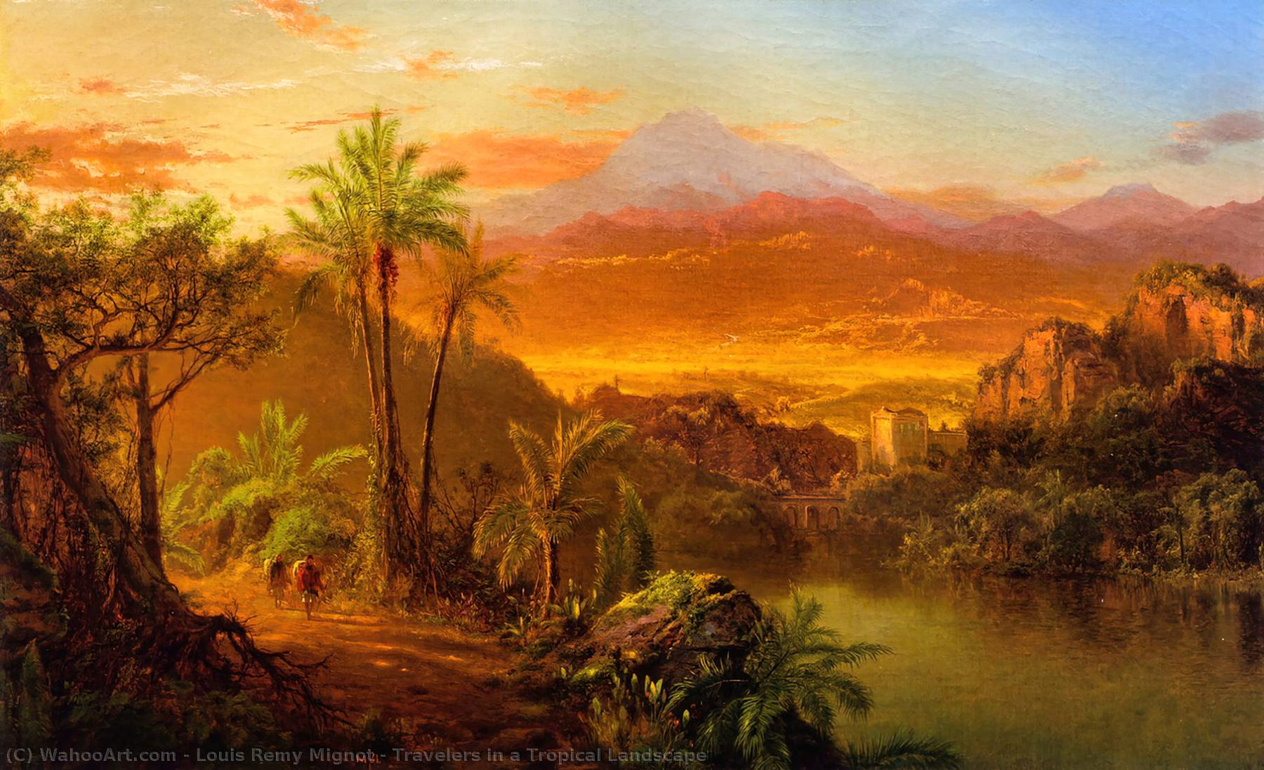 Travelers in a Tropical Landscape, Oil On Canvas by Louis Remy Mignot (1831-1870, United States)