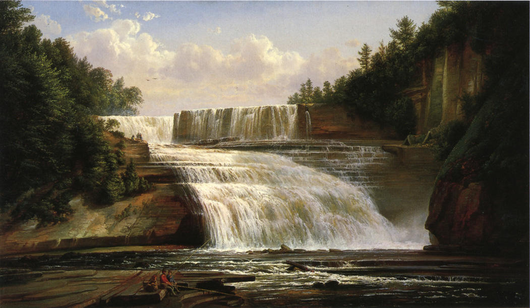 Trenton High Falls, Oil On Canvas by Joachim Ferdinand Richardt (1819-1895, Denmark)