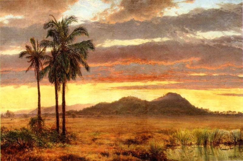 Tropical Landscape, Oil On Canvas by Louis Remy Mignot (1831-1870, United States)