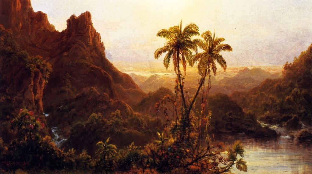 Tropical Landscape, 1859 by Louis Remy Mignot (1831-1870, United States) | Museum Quality Reproductions | WahooArt.com