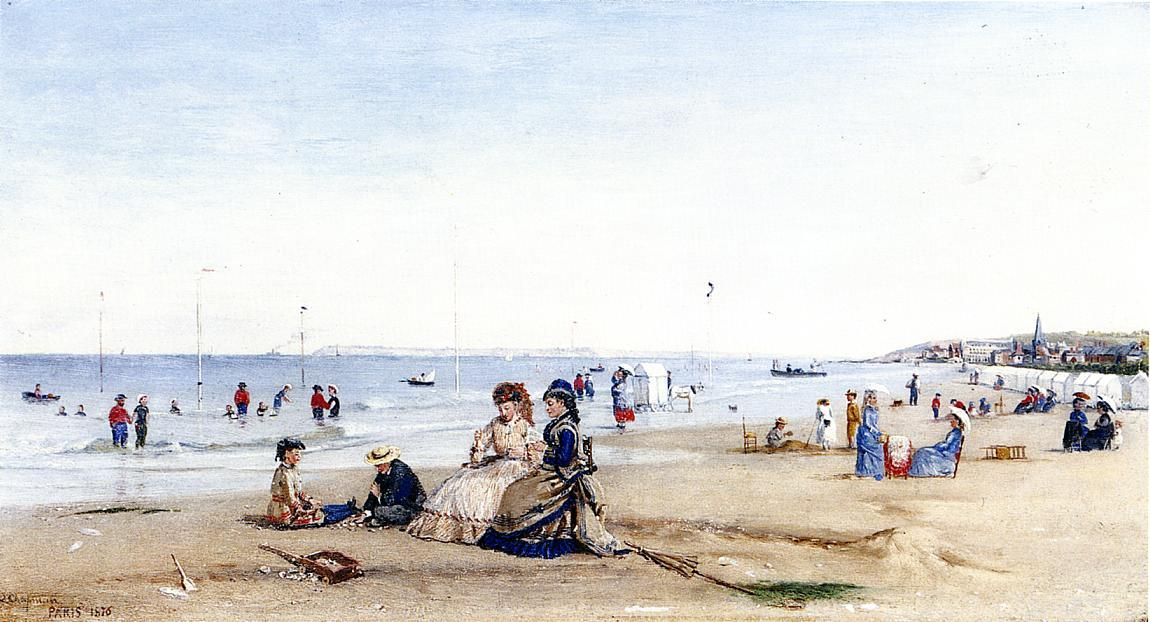 Trouville Beach, 1876 by Conrad Wise Chapman (1842-1910, United States) | Famous Paintings Reproductions | WahooArt.com