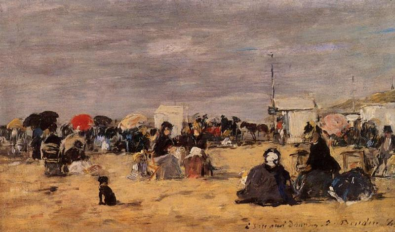 Trouville, Beach Scene, Oil On Panel by Eugène Louis Boudin (1824-1898, France)