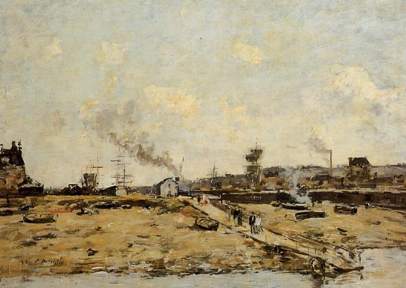 Trouville, the Ferry to Deauville, 1880 by Eugène Louis Boudin (1824-1898, France) | Art Reproduction | WahooArt.com