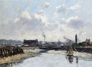 Eugène Louis Boudin - Trouville, the Port, Low Tide, Morning