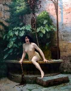 Jean Léon Gérôme - Truth coming from the well armed with her whip to chastise mankind