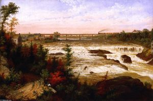 Cornelius David Krieghoff - The Tubular Bridge at St. Henry'a Falls