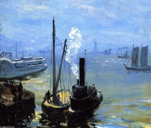 William James Glackens - Tugboat and Lighter