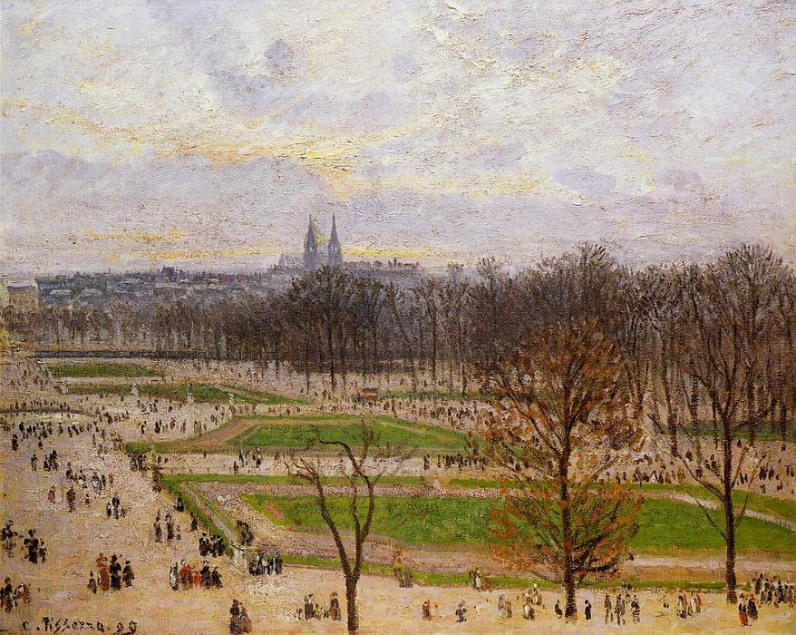 The Tuilleries Gardens: Winter Afternoon, 1899 by Camille Pissarro (1830-1903, United States) | Museum Quality Reproductions | WahooArt.com