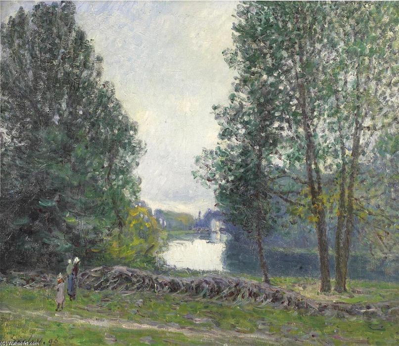 A Turn of the River Loing, Summer, 1896 by Alfred Sisley (1839-1899, France) | Art Reproduction | WahooArt.com