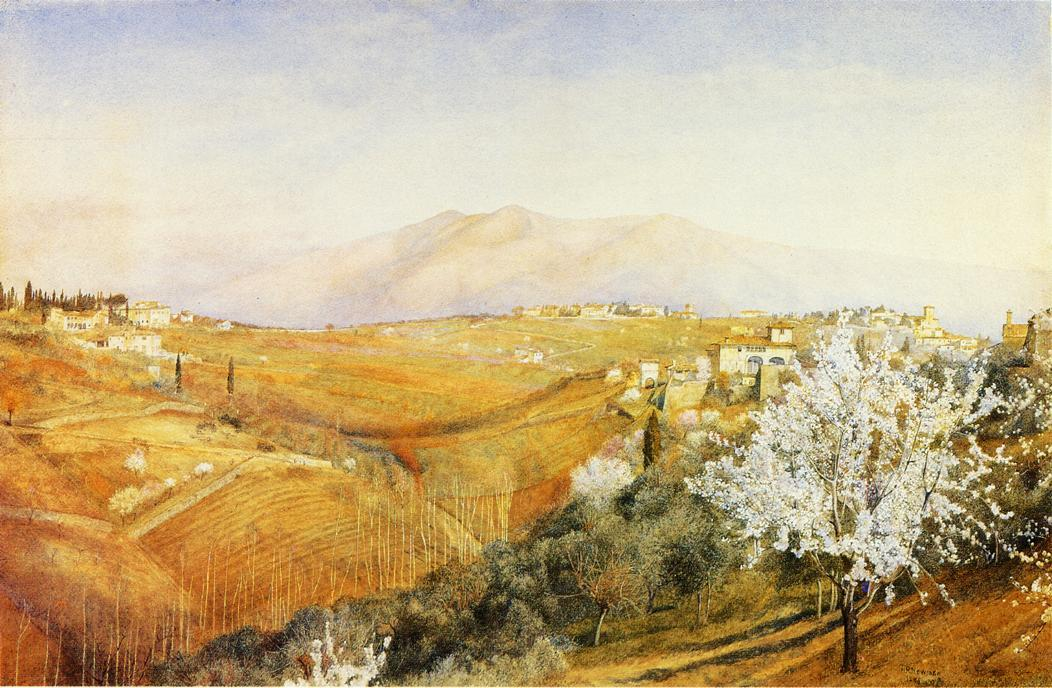 Tuscany, Watercolour by Henry Roderick Newman (1833-1918, United States)