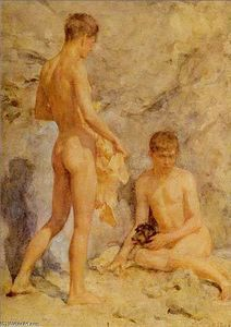 Henry Scott Tuke - Two boys and a dog