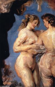 John Singer Sargent - Two Figures from 'The Three Graces' (after Rubens)