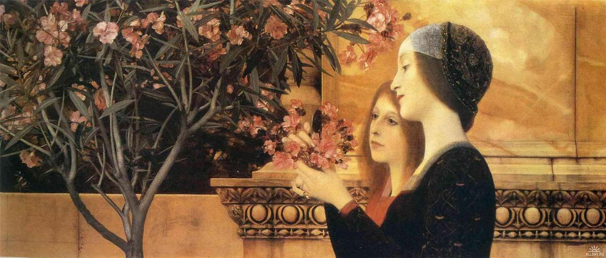Order Museum Quality Copies | Two Girls With An Oleander by Gustav Klimt (1862-1918, Austria) | WahooArt.com