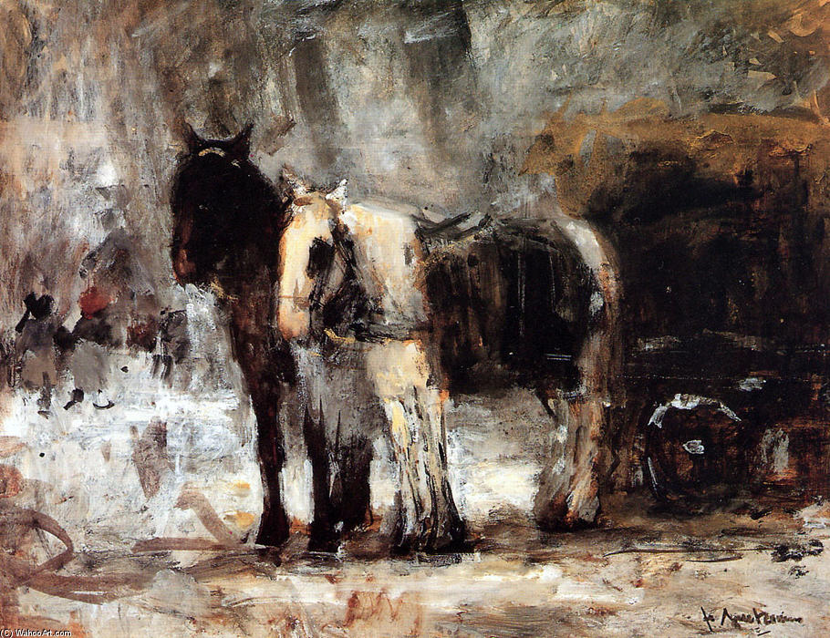 Order Museum Quality Copies | Two Horses by Pieter Florentius Nicolaas Jacobus Arntzenius (1864-1925, Indonesia) | WahooArt.com
