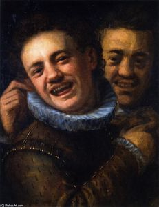 Hans Von Aachen - Two Laughing Men (also known as Double Self-Portrait)