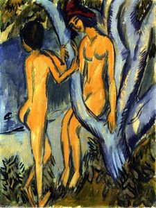 Ernst Ludwig Kirchner - Two Nudes by a Tree