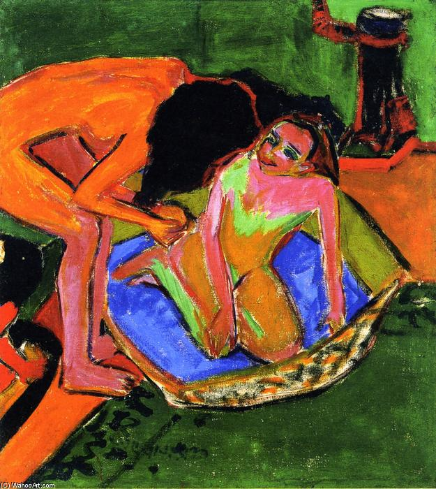 Two Nudes with Bathtub and Oven, 1911 by Ernst Ludwig Kirchner (1880-1938, Germany) | WahooArt.com