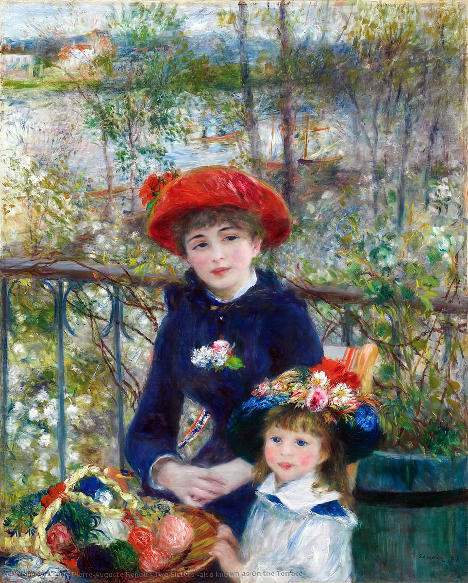 Order Art Reproductions | Two Sisters (also known as On the Terrace), 1881 by Pierre-Auguste Renoir (1841-1919, France) | WahooArt.com