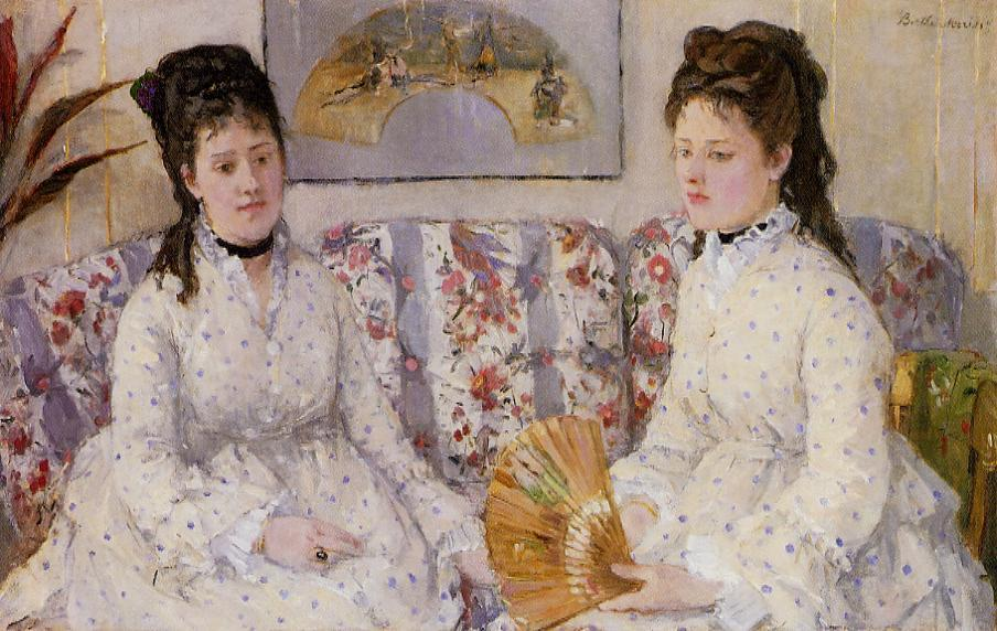 Two Sisters on a Couch (also known as The Sisters), 1869 by Berthe Morisot (1841-1895, France) | Painting Copy | WahooArt.com