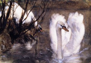 Adolph Menzel - Two Swans