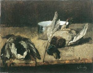Carl Eduard Schuch - Two wild ducks with enamel pot